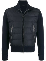 Tom Ford Padded Front Knitted Jacket Blue