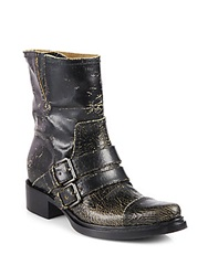 Miu Miu Distressed Leather Motorcycle Boots Black