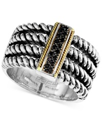 Effy Collection Balissima By Effy Black Diamond Accent Cable Ring In Sterling Silver And 18K Gold