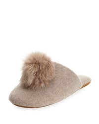 Minnie Rose Cashmere Fur Pompom Slipper Beige