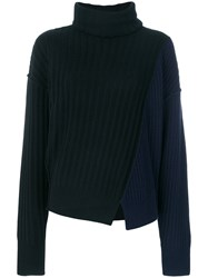 Michel Klein Wrap High Neck Jumper Cashmere Wool Black