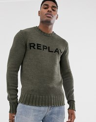 Replay Logo Crew Neck Jumper With Ribbed Detail In Khaki Green