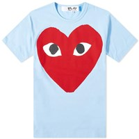 Comme Des Garcons Play Red Heart Logo Tee Blue