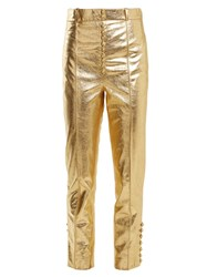 Hillier Bartley Button Detail Slim Leg Leather Trousers Gold