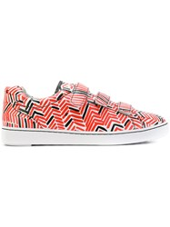 Ash Patterned Touch Strap Sneakers Leather Rubber Red