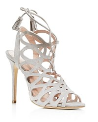 Charles David Priscilla Cutout Caged High Heel Sandals Gray
