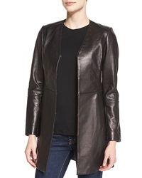 Neiman Marcus V Neck A Line Leather Topper
