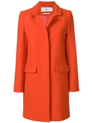 Closed Concealed Buttoned Coat Nylon Polyester Viscose Virgin Wool Yellow Orange