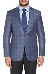 Hart Schaffner Marx Big And Tall Classic Fit Plaid Wool Sport Coat Medium Blue