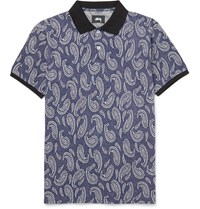 Stussy Paisley Cotton Jacquard Polo Shirt Blue
