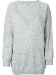 T By Alexander Wang Loose Fit V Neck Sweater Grey