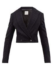 Hillier Bartley Cropped Pinstripe Wool Jacket Navy White