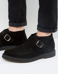 Religion Leather Creeper Monk Boots Black
