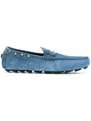Philipp Plein Nickel Plated Loafers Men Calf Leather Leather Rubber 42.5 Blue