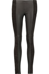 Michael Kors Collection Leather And Suede Leggings Chocolate