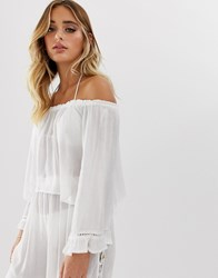 South Beach Crinkle Off Shoulder Top With Frill Sleeve White