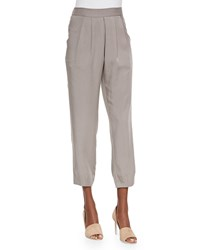 Eileen Fisher Slouchy Silk Ankle Pants Stone Petite Silver