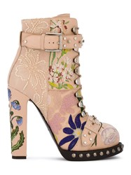 Alexander Mcqueen High Heeled Leather Floral Embroidered Bootie Women Cotton Leather Nylon Pvc 38 Pink Purple