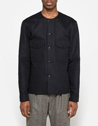 Christophe Lemaire Collarless Shirt In Black