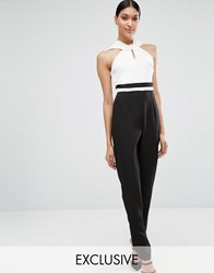 Vesper Twist Neck Tailored Jumpsuit Cream Black Multi