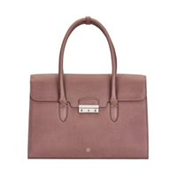 Maxwell Scott Bags Taupe Pebbled Leather Business Handbag For