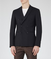 Reiss Curtis B Mens Wool Double Breasted Blazer In Blue