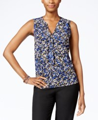 Nine West Printed Button Front Blouse Royal Multi