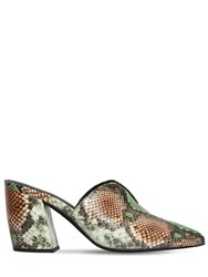 Jeffrey Campbell 80Mm Snake Print Leather Mules Green Beige