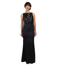 Adrianna Papell Cable Sequin And Stretch Taffeta Gown Navy Women's Dress