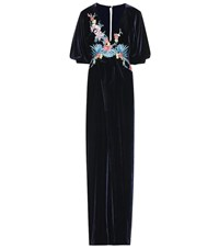 Costarellos Embroidered Velvet Gown Blue