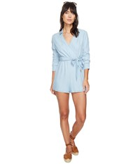 Bb Dakota Carlisle Front Wrap Romper Light Blue Women's Jumpsuit And Rompers One Piece