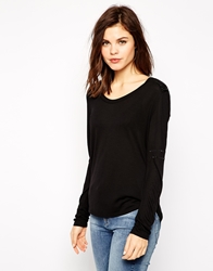 Karen Millen T Shirt With Crystal Shoulders Black