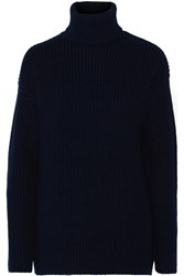 Equipment Tyson Ribbed Wool And Cashmere Blend Turtleneck Sweater Blue