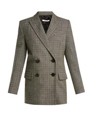 Givenchy Double Breasted Checked Wool Blazer Grey Multi