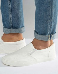 Asos Slip On Sneakers In White Snakeskin Effect White