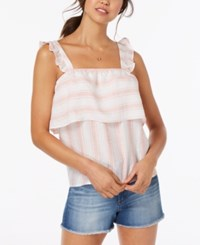 Almost Famous Juniors' Striped Ruffle Trimmed Tank Top Pink White Stripe