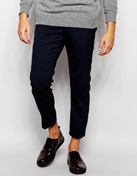 River Island Cuffed Trousers In Puppytooth Navy