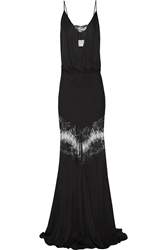 Mason By Michelle Mason Lace Paneled Silk Georgette Gown