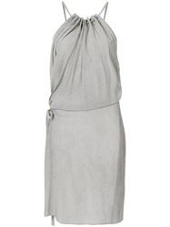 Lost And Found Ria Dunn Ruche Detail Halterneck Dress Grey