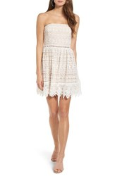 Socialite Women's Scallop Lace Strapless Dress White Nude