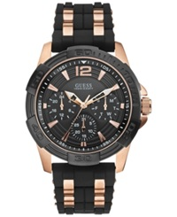 Guess Men's Black Silicone And Rose Gold Tone Bracelet Watch 43Mm U0366g3