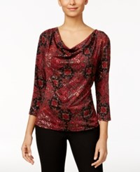 Msk Printed Sequined Cowl Neck Top Red
