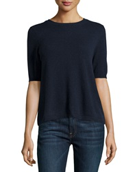 Minnie Rose Cashmere Short Sleeve Button Back Cardigan Navy