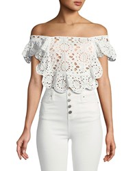 Red Carter Eyelet Lace Crop Top Ivory