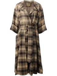 Biba Vintage Gingham Check Great Coat Brown
