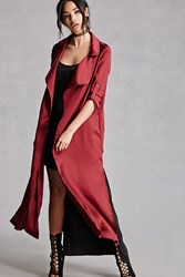 Forever 21 Belted Satin Trench Coat Burgundy