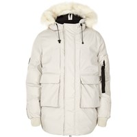 River Island Menswhite Bellfield Faux Fur Trim Hooded Parka