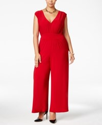 Love Squared Trendy Plus Size Wide Leg Jumpsuit Red