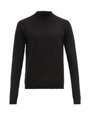 Prada Mock Neck Wool Sweater Black
