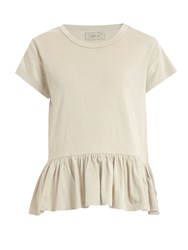 The Great Peplum Hem Distressed Jersey T Shirt White